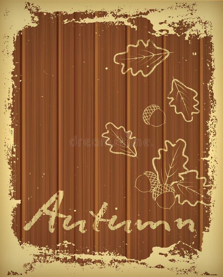 与在白垩画的橡木叶子的秋天背景,传染媒介 皇族释放例证