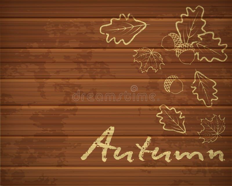 与在白垩画的橡木叶子的秋天背景 皇族释放例证