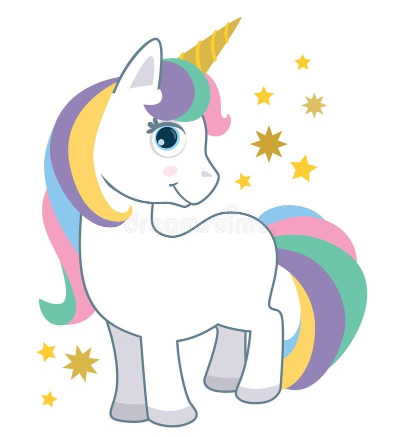 与在白色动画片样式传染媒介例证隔绝的彩虹头发的逗人喜爱的小的婴孩独角兽 幻想动物 向量例证