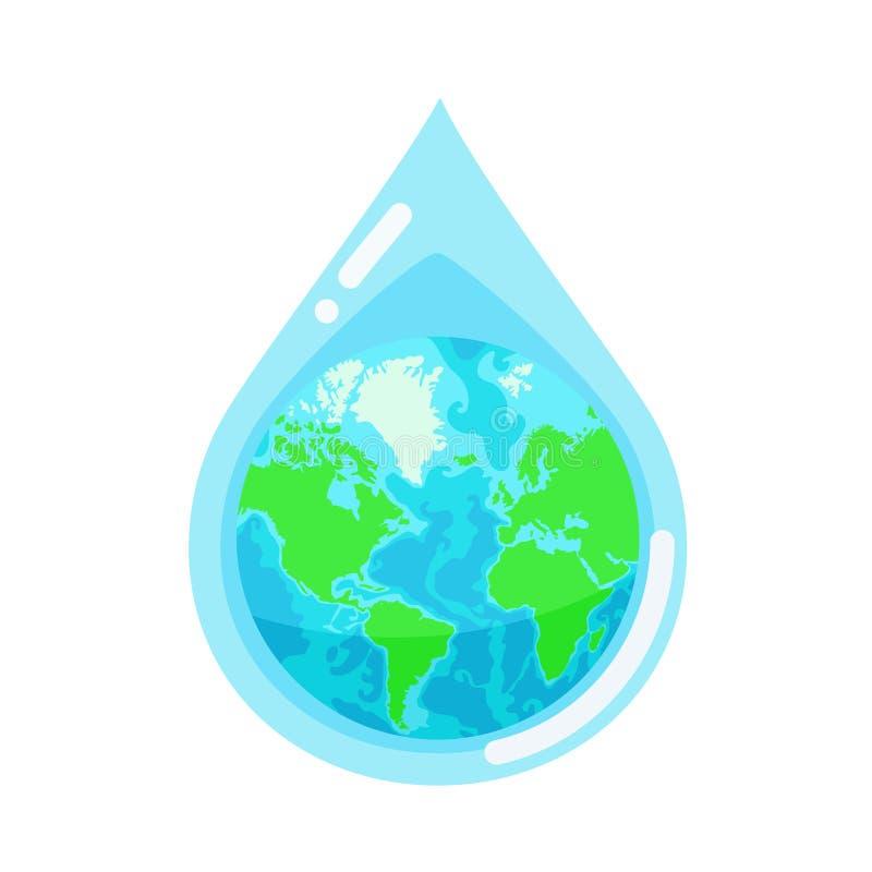 与在白色后面隔绝的地球地球里面的水滴 向量例证