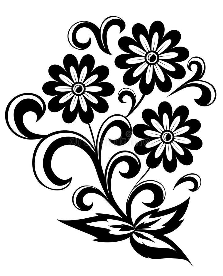 与在白色和漩涡的黑白抽象花查出的叶子 向量例证