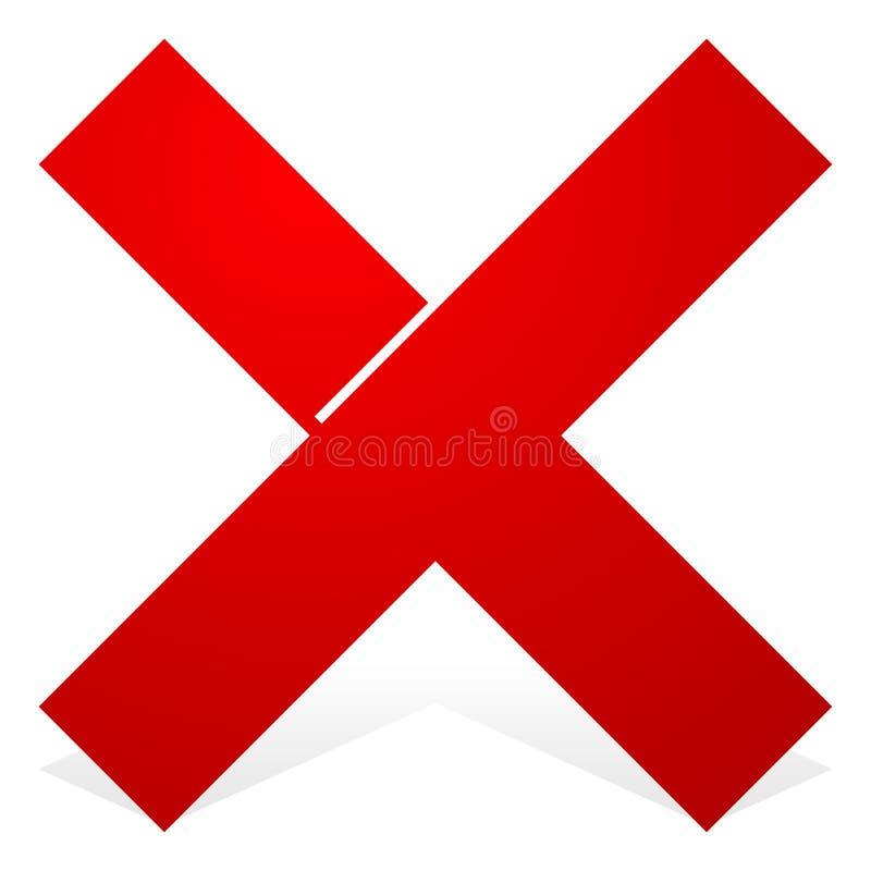 与在白色和阴影的红色X形状隔绝的刻痕 取消, wro 库存例证