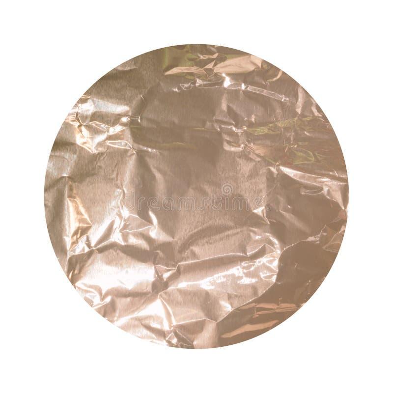 与在白色弄皱了箔纹理隔绝的玫瑰色金子的圆的背景 免版税库存照片