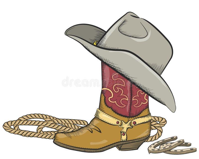 与在白色查出的西部帽子的牛仔靴 皇族释放例证