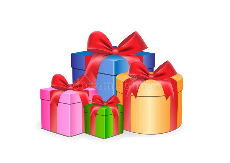 与在白色背景传染媒介例证隔绝的红色丝带的多彩多姿的礼物盒不同的形状 向量例证