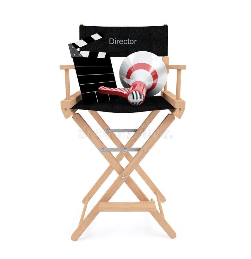 主任与在白色背景和扩音机的` s椅子隔绝的拍板 库存图片