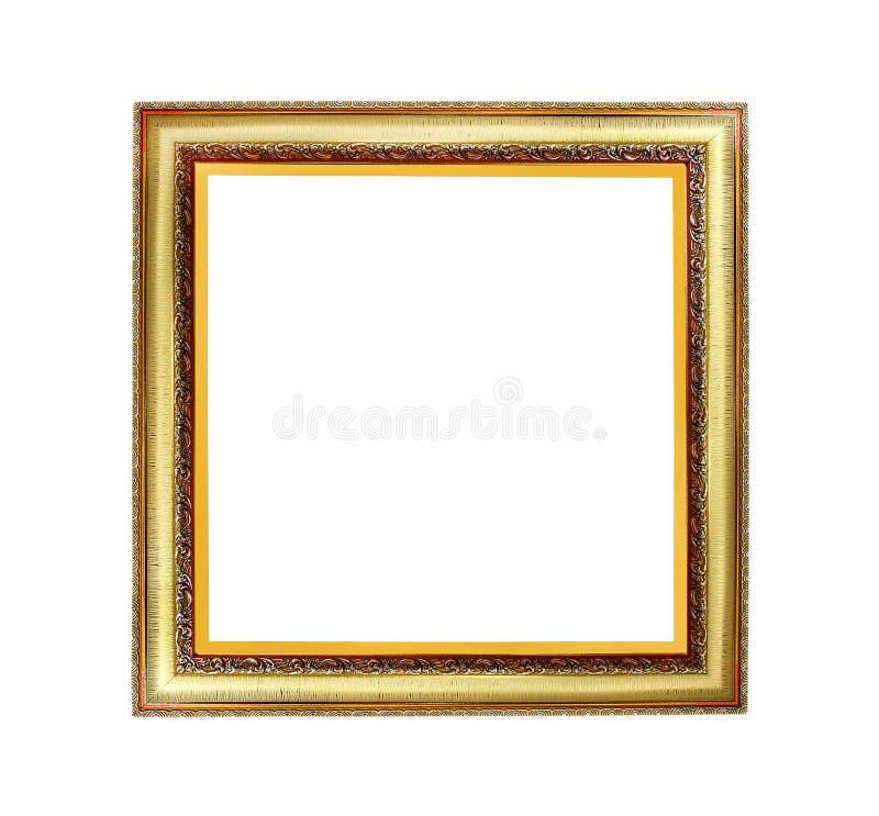 与在白色背景和裁减路线隔绝的许多层数样式的老金黄框架 库存例证