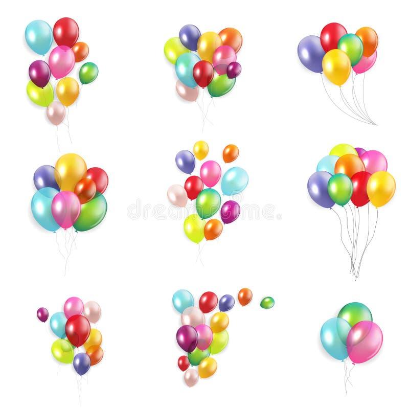 与在白色背景汇集集合隔绝的气球的光滑的生日快乐概念 r 皇族释放例证