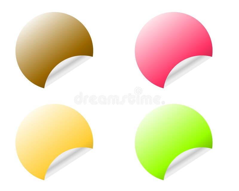 与在白色背景用不同的颜色变形隔绝的卷曲的边缘的圆的贴纸 库存例证