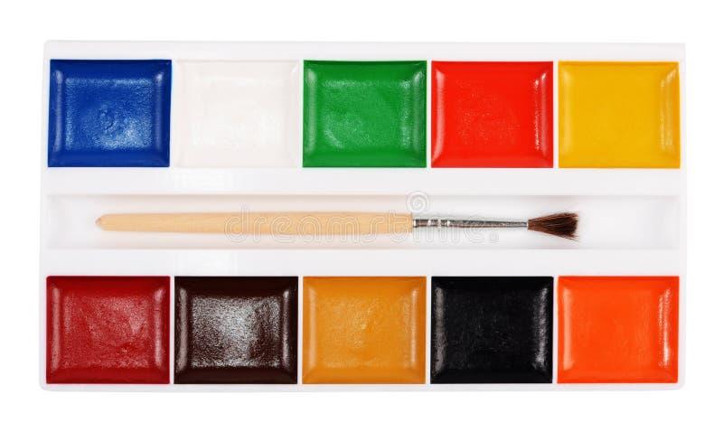 与在白色背景隔绝的刷子的水彩油漆 库存图片