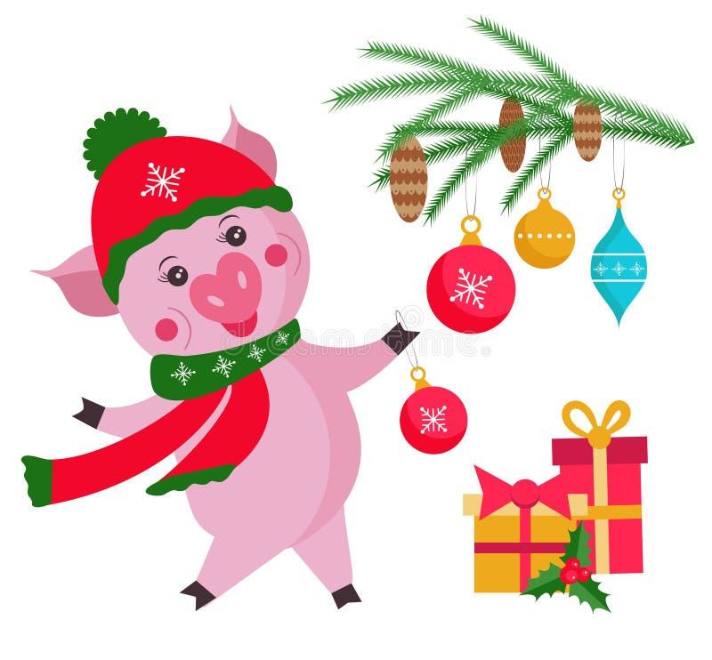 与在白色背景隔绝的圣诞树的逗人喜爱的猪,在中国日历的标志2019年 向量Illustratio 皇族释放例证