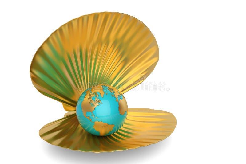 与在白色背景隔绝的地球的金黄海壳 3d不适 库存例证
