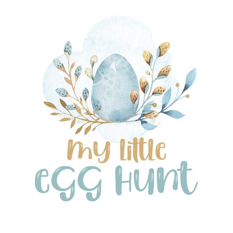 与在白色背景隔绝的复活节篮子的兔子 颜色复活节彩蛋wi 画开花的河结构树水彩绕的银行 手工 绿松石 库存例证