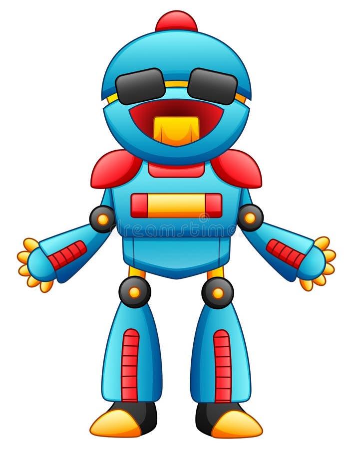 与在白色背景隔绝的太阳镜的逗人喜爱的动画片机器人字符 库存例证