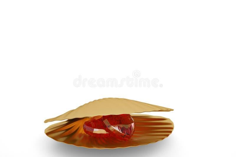 与在白色背景隔绝的心脏红宝石的金黄海壳 3 库存例证