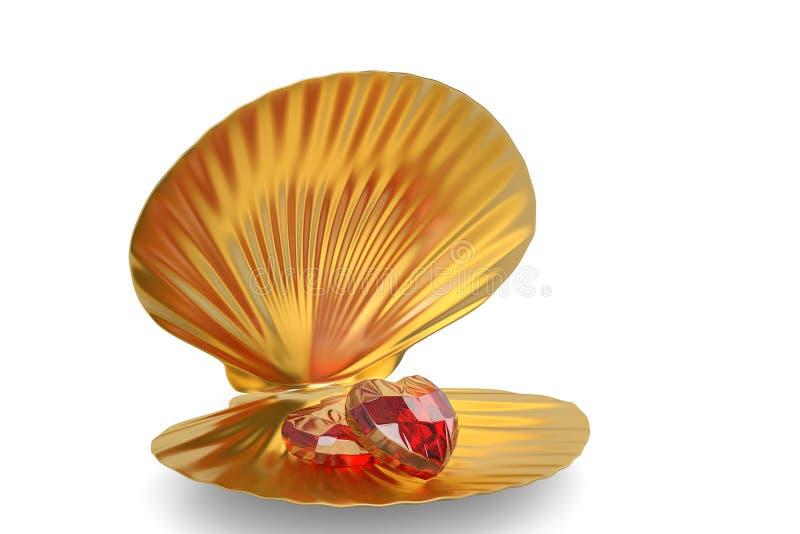 与在白色背景隔绝的心脏红宝石的金黄海壳 3 向量例证
