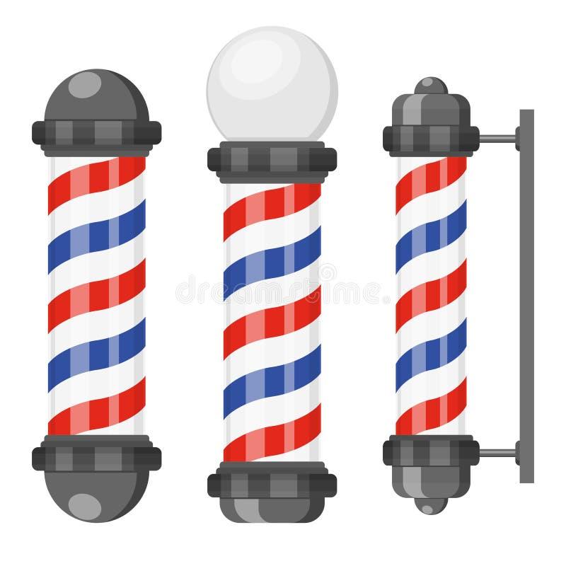 与在白色背景隔绝的条纹的理发店杆 理发店标志,在平的样式的美发师标志 向量例证