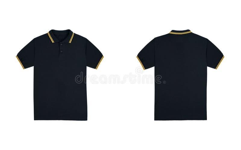 与在白色背景隔绝的条纹黄色颜色的空白的简单的球衣黑色 捆绑组装球衣前面和后面看法 库存照片