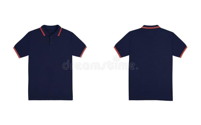 与在白色背景隔绝的橙色条纹的空白的简单的球衣蓝色海军颜色 捆绑组装球衣前面和后面看法 免版税库存图片