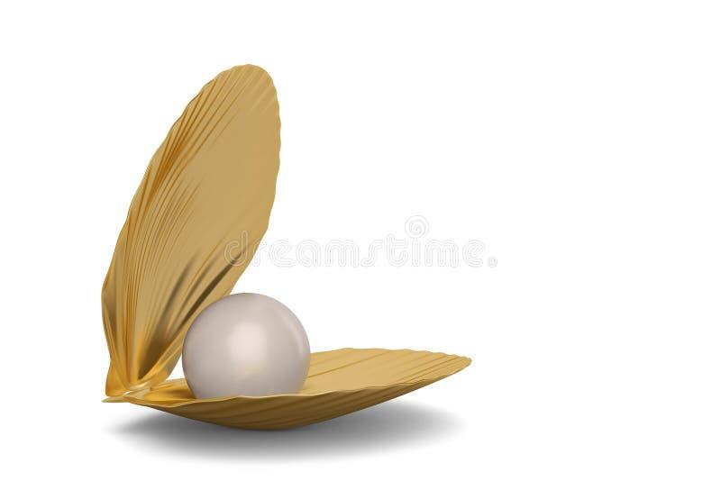 与在白色背景隔绝的珍珠的金黄海壳 3d不适 皇族释放例证