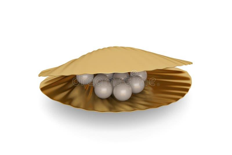 与在白色背景隔绝的珍珠的金黄海壳 3d il 向量例证