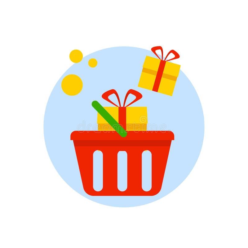 与在白色背景隔绝的礼物盒的篮子 电子商务,购物的传染媒介平的象 库存例证