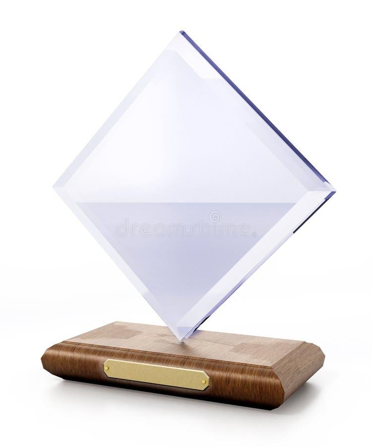 与在白色背景隔绝的空白的标识牌的丙烯酸酯的奖 3d例证 库存照片