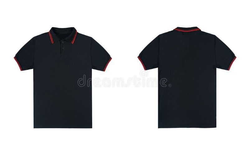 与在白色背景隔绝的红色条纹颜色的空白的简单的球衣黑色 捆绑组装球衣前面和后面看法 图库摄影