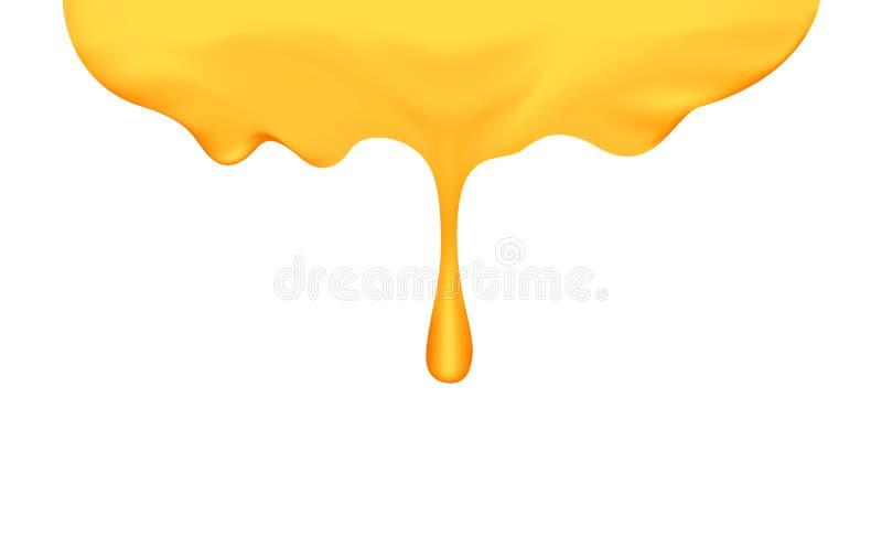 与在白色背景隔绝的蜂蜜浸染工的蜂蜜水滴,蜂蜜液体下落金黄横幅图表的,蜂蜜蜂窝 库存例证