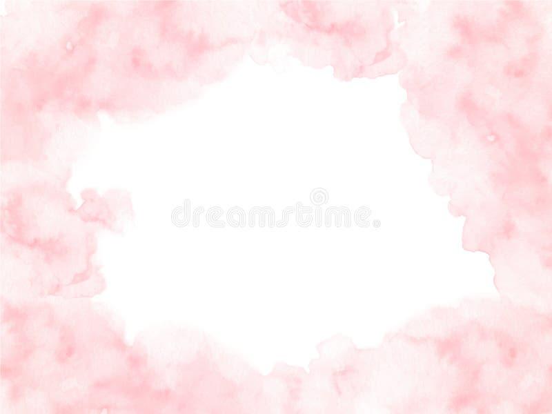 与在白色背景隔绝的软的边缘的手画桃红色水彩边界纹理 向量例证