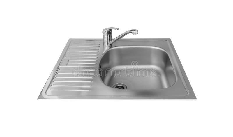 与在白色背景隔绝的轻拍的厨房水槽 库存照片