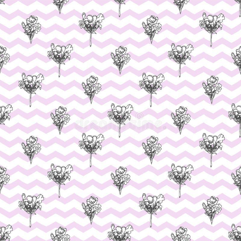 与在白色背景隔绝的逗人喜爱的淡紫色花手拉的剪影的Semless样式  法国普罗旺斯减速火箭的样式为 皇族释放例证