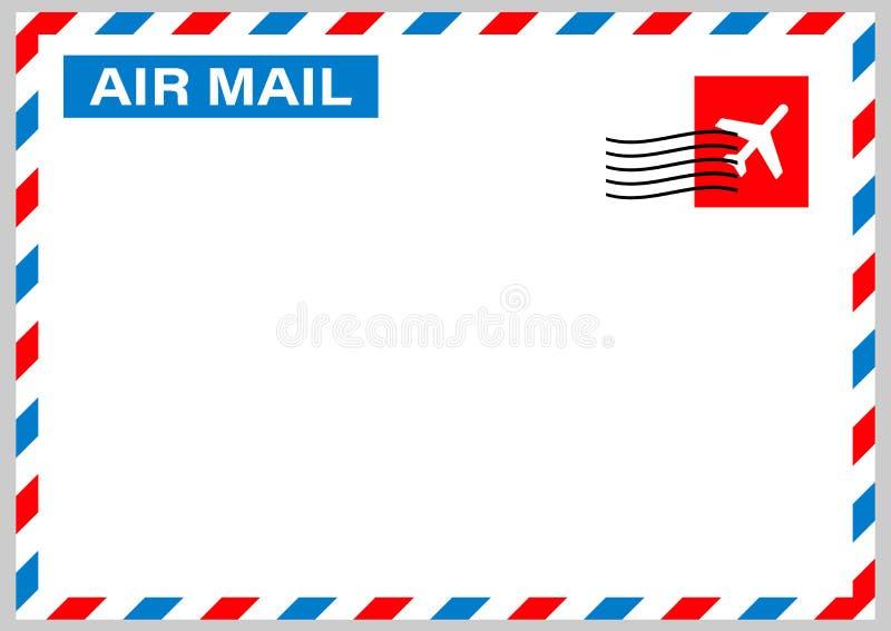 与在白色背景隔绝的邮政邮票的航空邮寄信封 t 向量例证