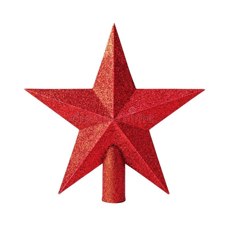 与在白色背景隔绝的闪烁材料的红色星 圣诞树上面的圣诞装饰  免版税库存照片
