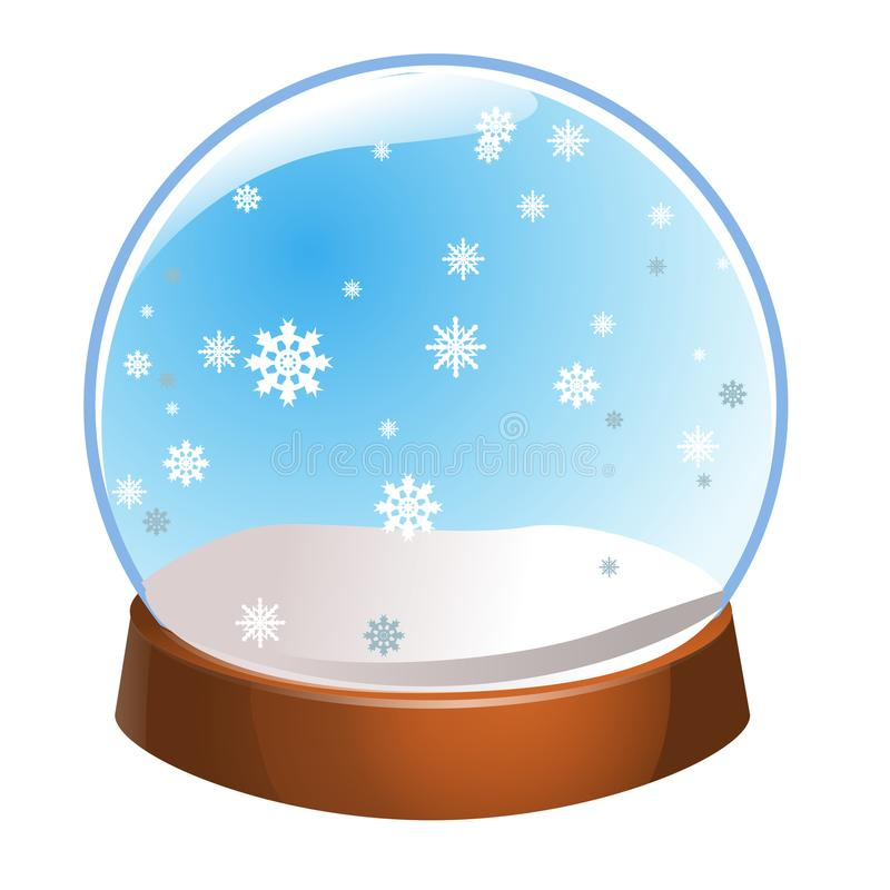 与在白色背景隔绝的雪花里面的雪地球 圣诞节魔术球 Snowglobe例证 在gla的冬天 皇族释放例证