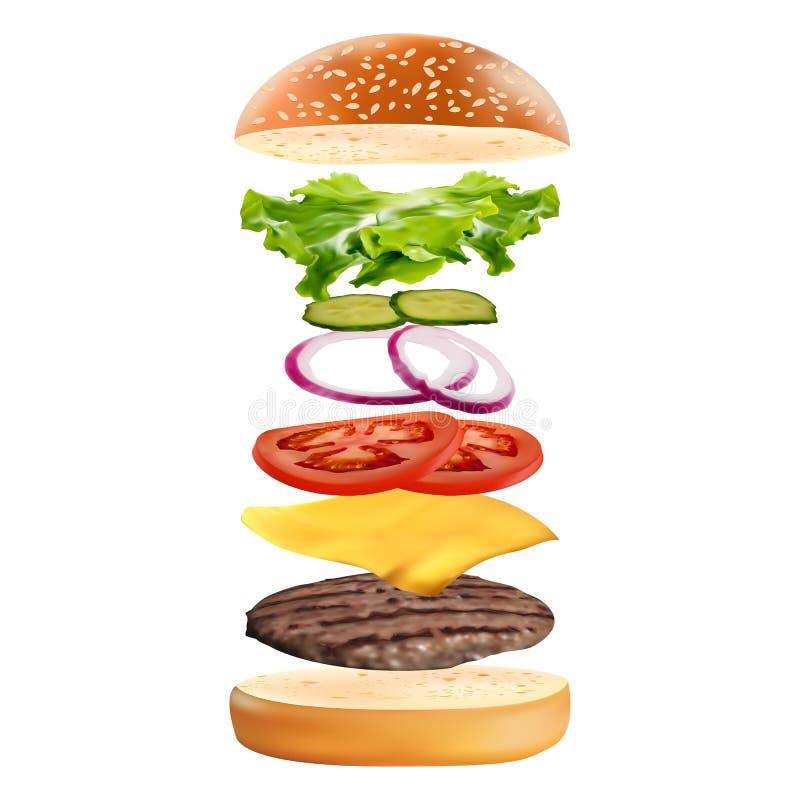 与在白色背景隔绝的飞行成份的现实可口3D汉堡 快餐传染媒介例证 库存例证