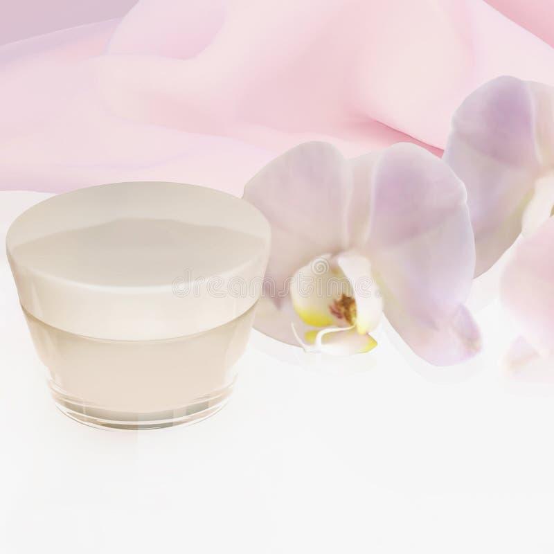 与在白色背景隔绝的兰花花的面霜 库存照片