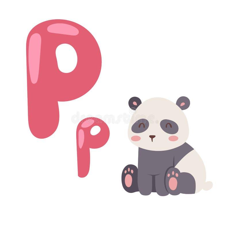 与在白色背景隔绝的动画片动物熊猫的逗人喜爱的动物园字母表和滑稽的信件P野生生物学会印刷术 皇族释放例证