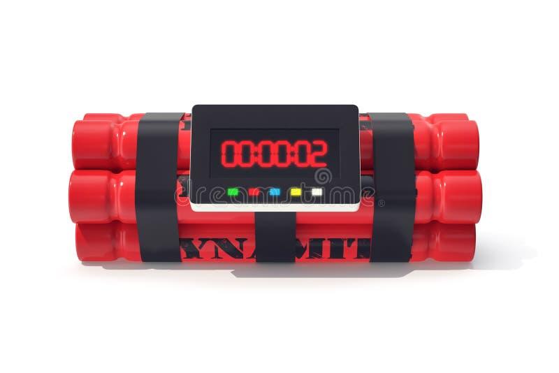 与在白色背景隔绝的定时器的TNT炸药红色炸弹 3d例证 皇族释放例证
