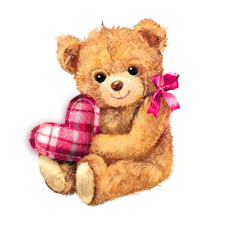 与在白色背景隔绝的心脏的玩具熊 坐与心脏的手拉的玩具熊玩具 华伦泰` s与逗人喜爱的B的天卡片 库存例证