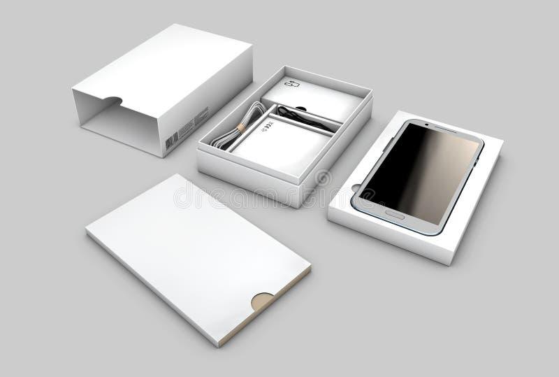 与在白色背景隔绝的手机的被打开的箱子包裹,例证 皇族释放例证