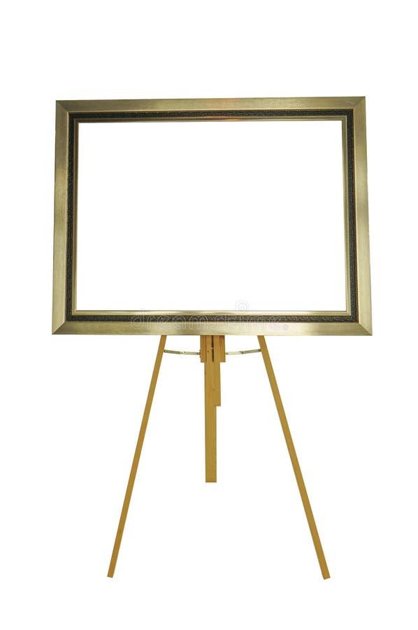 与在白色背景隔绝的木立场的画框 库存照片