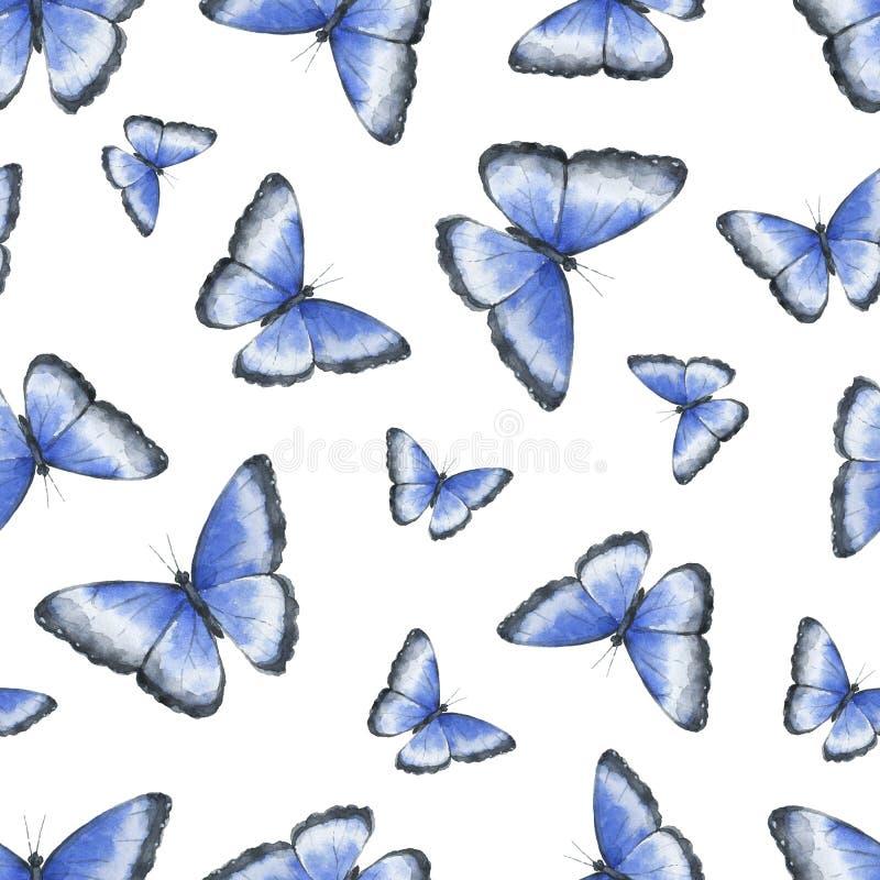 与在白色背景隔绝的热带蓝色蝴蝶的水彩无缝的样式 库存例证