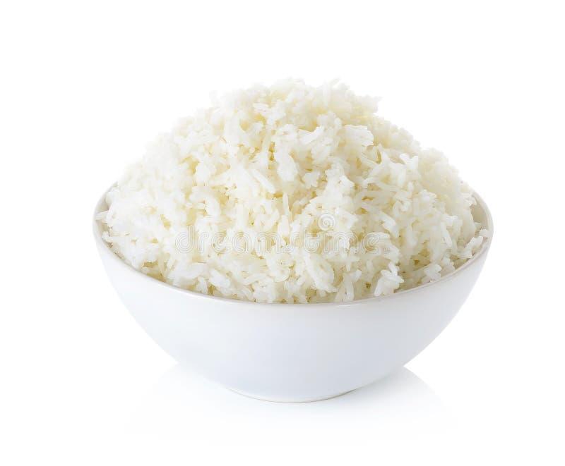 与在白色背景隔绝的碗的米 免版税库存图片
