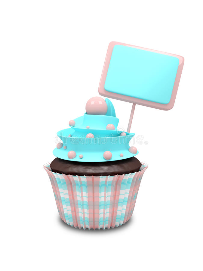 与在白色背景隔绝的空白的委员会的甜杯形蛋糕 库存例证