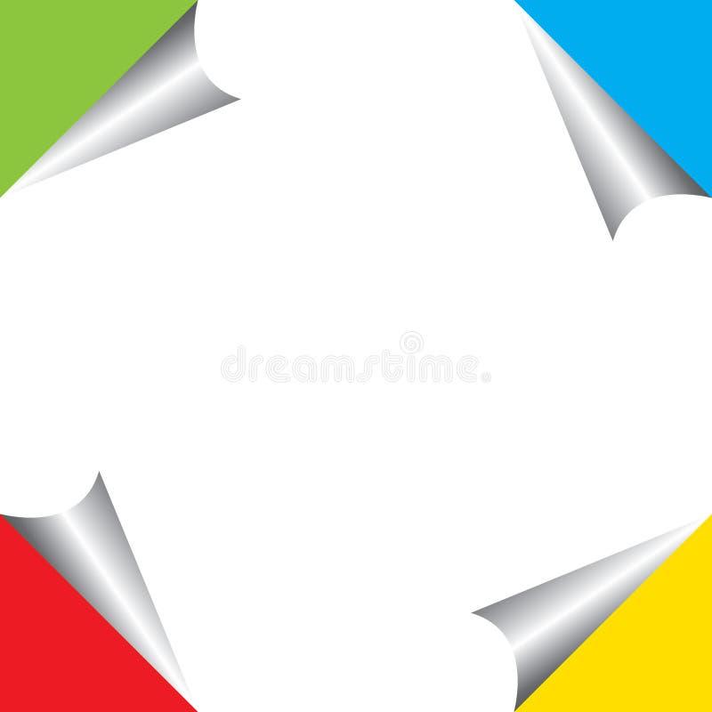 与在白色背景隔绝的蓝色,绿色,黄色和红色模板的卷曲页角落 库存例证