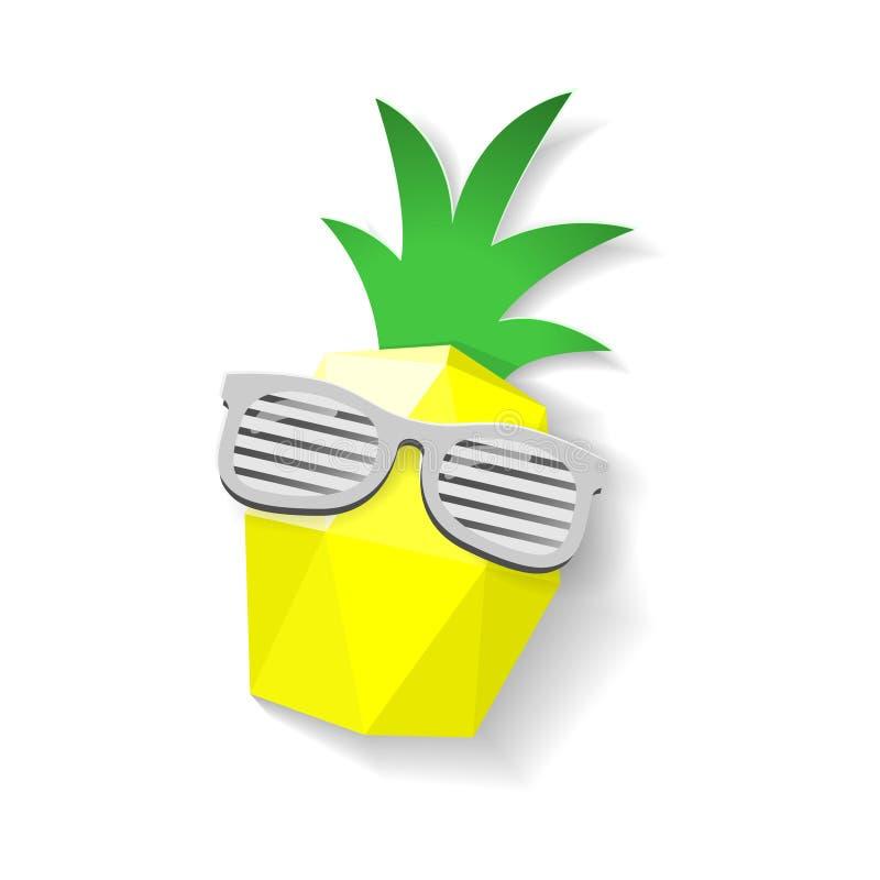 与在白色背景-隔绝的太阳镜的菠萝低多和纸艺术样式 库存例证