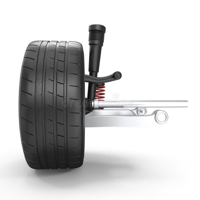 与在白色背景3D例证隔绝的轮子的汽车后方停止 皇族释放例证