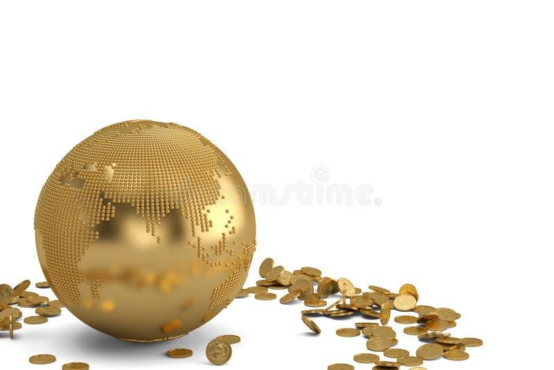 与在白色背景3D illus隔绝的金币的金地球 向量例证