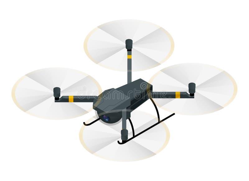 与在白色航拍的隔绝的录影和照片照相机的等量电无线RC quadcopter寄生虫 库存例证